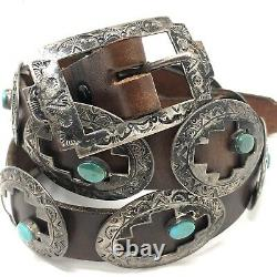 Navajo Concho Belt Turquoise Sterling Silver VTG 167g 38in Signed LAW D Stamped