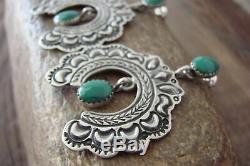Navajo Indian Heavy Stamped Sterling Silver Turquoise Naja Post Earrings LJ