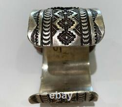 Navajo Kingman Turquoise Stamped sterling silver Large Cuff