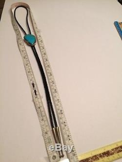 Navajo Morenci Turquoise Sterling Silver Ray Fiero Bolo tie stamped R Sterling