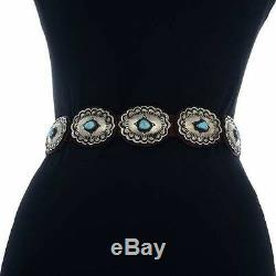Navajo Natural Turquoise Santa Fe Style Stamped Silver Concho Belt V Blackgoat