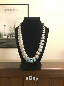 Navajo RB Sterling Silver Stamped Pillow Bench Beads Turquoise Necklace 925
