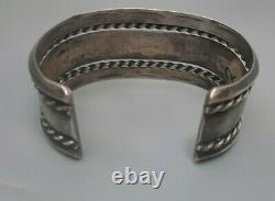 Navajo Silver Cuff Bracelet With Stamping Old Pawn Fred Harvey Era
