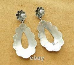 Navajo Stamp Sterling Silver Sleeping Beauty Turquoise Large Teardrop Earrings