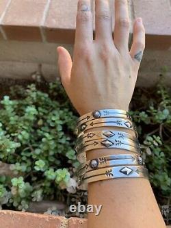 Navajo Sterling Silver Hand Stamped Bangle Bracelet