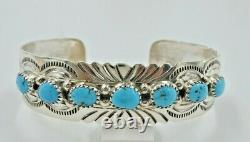 Navajo Turquoise Row Sterling Silver Cuff Bracelet Stamped