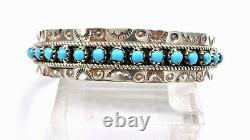 Navajo Turquoise Sterling Silver Stacker Cuff Bracelet Stamped
