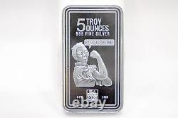 New 5 oz Envela 0.999 Silver Bar Rosie the Riveter Stamped Oct 2020 Edition
