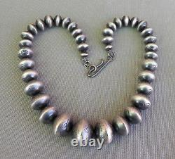 New Antiqued Stamped Big Navajo Sterling Silver Stamped Bead Necklace R. Haley