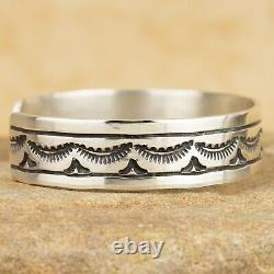 New Native American Sterling Silver Stamped Cuff Bracelet Size 6 1/2 Signed RE