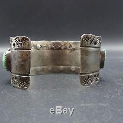 OLD 1930s ZUNI Hand Stamped Sterling Silver TURQUOISE Cuff BRACELET Besselente