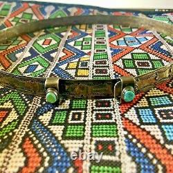 Old ANTIQUE 1920s NAVAJO Hand Stamped Sterling Silver HATBAND with TURQUOISE