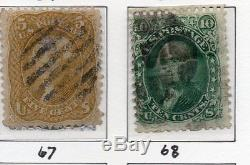 Old Classic Stamp Collection on Album Page (1861-66 Issues) 14 Stamps