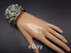 Old NAVAJO Hand Stamped Ingot Silver & TURQUOISE Cuff BRACELET, Whirling Logs