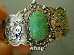 Old Native American Green Turquoise Sterling Silver Thunderbird Stamped Bracelet