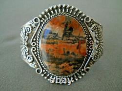 Old Native American Orange Black Petrified Wood Sterling Silver Stamped Bracelet