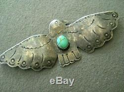 Old Native American Turquoise Stamped Sterling Silver Thunderbird Pin / Brooch