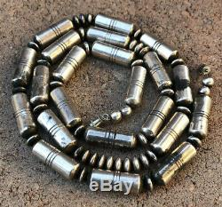 Old Navajo Stamped Sterling Silver Barrel Pearl Disk Bench Bead Necklace 28