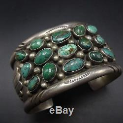 Old Pawn NAVAJO Stamped Sterling Silver GREEN TURQUOISE Wide Cuff BRACELET 74g