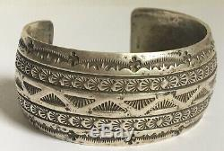 Old Pawn Navajo Heavy Hand Stamped Hammered Etched Sterling Silver Cuff Bracelet
