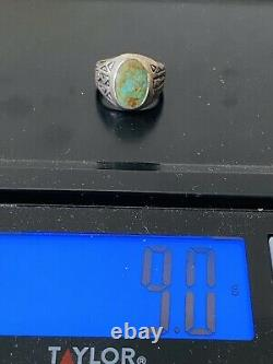 Old Pawn Navajo Mens Sterling Silver Hand Stamp Royston Turquoise Ring Size 11