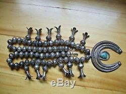 Old Pawn Navajo Squash Blossom 113g Silver Turquoise Naja Stamped Bench Beads