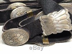 Old Pawn Navajo Stamped Sterling Silver Handmade 14 Conchos Ladies Leather Belt