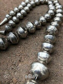 Old Pawn Navajo Stamped Sterling Silver Pearl Bench Beads Necklace 65.6g 25