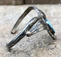 Old Pawn Navajo Sterling Silver Blue Kingman Turquoise Stamped Cuff Bracelet