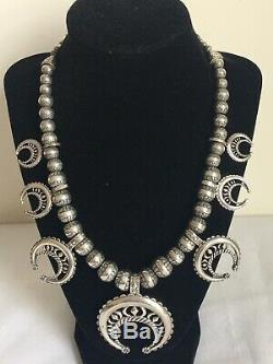 Old Pawn Navajo Sterling Silver Hand Stamped Bench Bead Squash Blossom Necklace