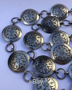Old Pawn Navajo Sterling Silver Overlay Native American Stamped Concho Belt 38