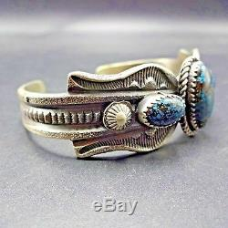 Old Style NAVAJO Hand-Stamped Sterling Silver SPIDERWEB TURQUOISE Cuff BRACELET