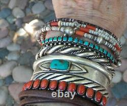 Old Vintage Fred Harvey Era Silver Stamped Square Turquoise Row Cuff Bracelet