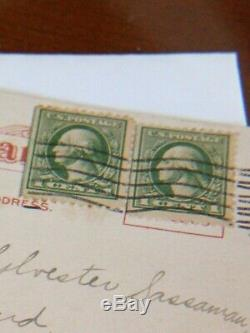 Original 1914 Two -1 Cent George Washington Green Stamps