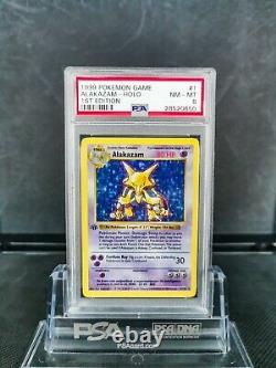 PSA 8 Alakazam 1st Edition Shadowless Base Set Holo Pokemon 1/102 Thick Stamp