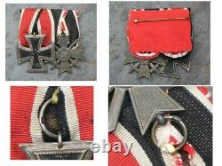 Pair of German 1939 WWII Iron Cross and war Merit medals Ring Stamped Original