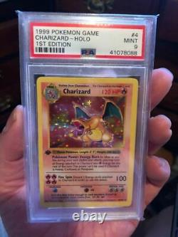 Pokemon Psa 9 Mint 1st Edition Charizard Base Set 1999 Shadowless Thin Stamp