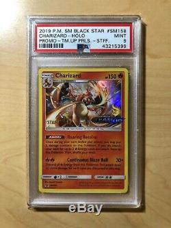 Pokemon Team Up Charizard Holo Prerelease STAFF Stamped SM158 PSA 9 Mint New