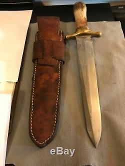 R. H. Ruana 42D M Stamp -Stag Brass Back Bowie Knife-1967-1970
