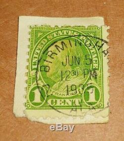 RARE 1 Cent Green Ben Franklin (Scott #594 or #596) POSTMARK 1935 BIRMINGHAM AL
