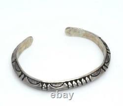 RS Navajo ROGER SKEET Sterling Silver Hand Stamped Sandcast Cuff 5.25 Bracelet