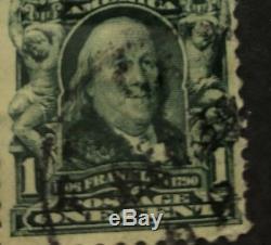 Rare 1901-1908 Benjamin Franklin 1 cent stamp used #300 VF Partial Gum