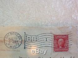 Rare 1903 2 Cent Red Line Washington Stamp 13 Star Stripes Flag Cancellation