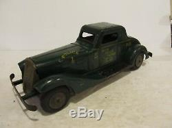 Rare 1930's Marx Siren Police Patrol Car Stamped Steel Wind Up + Battery +