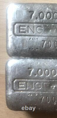 Rare Vintage Engelhard Odd Size 7 Oz Silver Bar Error Stamp Under 100 Minted