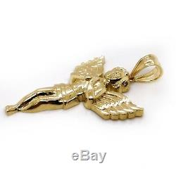 Real 10K Yellow Gold 1.77 Large Praying Angel Charm Pendant Mens Pendant 3.4 Gr