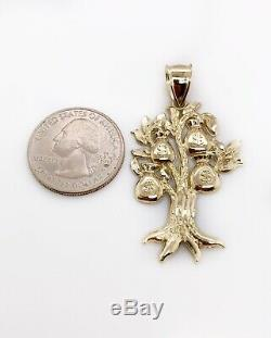 Real 10K Yellow Gold Diamond Cut Lucky Money Bag Tree Dollar Pendant 4.4 Grams