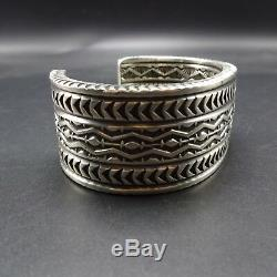 SUNSHINE REEVES Heavy NAVAJO Hand-Stamped Sterling Silver Cuff BRACELET 160g