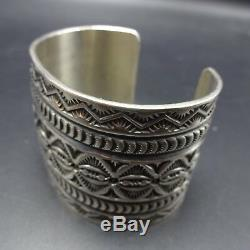 SUNSHINE REEVES Wide NAVAJO Hand-Stamped Sterling Silver Cuff BRACELET 107g