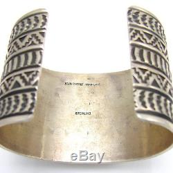SUNSHINE REEVES Wide Navajo Stamped Sterling Spiny Oyster Shell Cuff Bracelet G